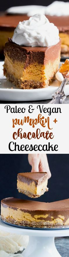 This chocolate pumpkin cashew cheesecake is a deliciously rich and creamy dessert for the holidays or any special occasion! Paleo, vegan, dairy-free.