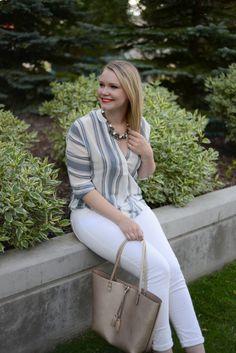 Fashion, fashion blog, striped top, gentle fawn, gentle fawn top, summer style, sole society, sole society necklace, sole society tote, gold tote, miz mooz canada, nars lipstick, Edmonton fashion