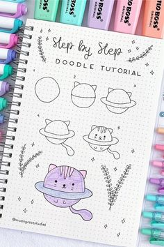 best animal bullet journal DOODLES with step by step tutorials Easy Doodles Drawings, Easy Doodle Art, Cute Easy Drawings, Mini Drawings, Simple Doodles, Bullet Journal Banner, Bullet Journal Lettering Ideas, Bullet Journal Writing, Bullet Journal Ideas Pages