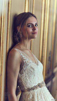 bhldn spring 2016 sleeveless sheer strap v neck embellished bodice tulle skirt pretty a line wedding dress (reagan)