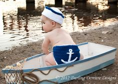 Ravelry: Sailor Hat, Nautical Headband, and Anchor Crochet Diaper Cover PATTERN pattern by Darling Derriere Designs-$5.50