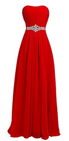 ASBridal Womens Long Sweetheart Beading Waist Formal Party Dress Strapless Evening Gown Red US4 *** For more information, visit image link.