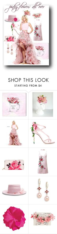 """""""pinky flowers"""" by caroline-buster-brown ❤ liked on Polyvore featuring Oliver Gal Artist Co., Sherri Hill, Dolce&Gabbana, Kate Spade, WithChic, Gigi Burris Millinery, Saks Fifth Avenue, Miss Selfridge and monochromepink"""