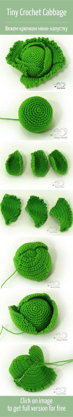 Crochet Patterns Yarn Knit a miniature cabbage crochet cabbage / Tin … Crochet Fruit, Crochet Food, Crochet Kitchen, Love Crochet, Crochet Yarn, Knitting Yarn, Crochet Flowers, Crochet Amigurumi, Amigurumi Patterns
