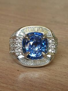 5ct natural ceylon blue sapphire with gold diamond ring