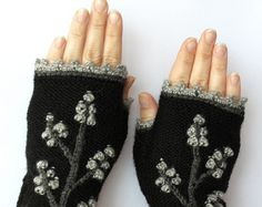 In maglia guanti senza dita Rose avorio lungo