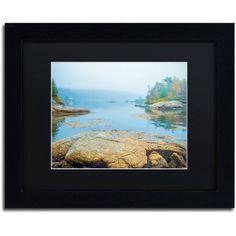Trademark Fine Art Foggy Lake Canvas Art by Preston Black Mat, Black Frame, Size: 16 x 20