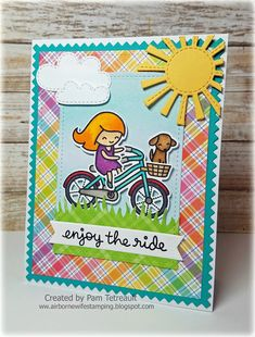 Lawn Fawn - Bicycle Built for You, Spring Showers _ card by Pam Lawn Fawn - Happy Hatchling _ Easter decoration by Arlene featured on Fawny Flickr Friday