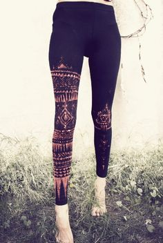 Patterned leggings with a bleach pen.