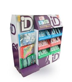 Cardboard pallet display for gum display stands, two sided display with peg hooks. allen@ecodisplaycn.com