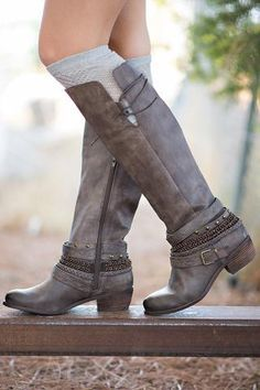 Along For the Ride Embellished Strappy Ridding Boot (Taupe) - NanaMacs.com - 1