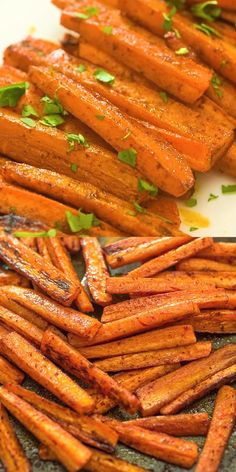 These simple Baked Carrot Fries make a healthy and tasty alternative to potato fries. Colorful and soft, it's impossible to stop eating them! Baked Carrots, Roasted Sweet Potatoes, Grilled Carrots, Fried Potatoes, Baked Carrot Fries, Honey Carrots, Carrots Healthy, Eating Carrots, Healthy Vegetarian Recipes