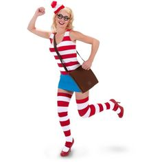 Waldo Sexy Dress Adult Costume ($20) ❤ liked on Polyvore featuring costumes, halloween costumes, wheres waldo adult costume, where is waldo halloween costume, adult waldo costume, adult costume and star costume