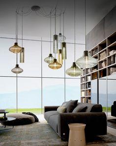 LED blown glass pendant lamp CLIO by PANZERI design Silvia Poma