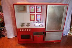 UpCycled Childrens Kids Play Kitchen Entertainment by CymfaDesigns