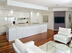 modern kitchen by Kitchens By Design Australia Narrow Kitchen, Big Kitchen, Kitchen Tiles, Kitchen Flooring, Kitchen Island, Kitchen Pantry, Design Your Kitchen, Pantry Design, Concept Home