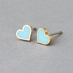 Turquoise Heart Stud Earrings Silver Post