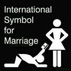 International symbol for marriage - man handing over credit card to woman