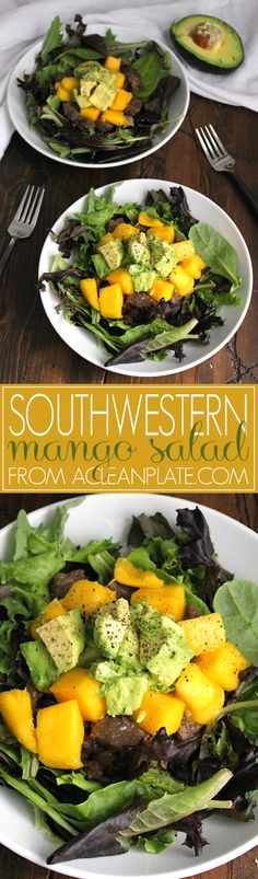 Southwestern Salad with Mango Salsa and Guacamole recipe from A Clean Plate