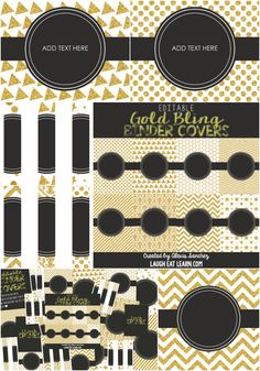 Editable Gold Bling Binder Covers by Laugh Eat Learn --- Binders make everything better! Organize and brighten up your office, classroom, kitchen, anywhere with these gold and glittery covers! This set includes everything you need to get your organized and looking great!