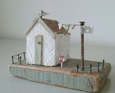 Handmade driftwood coastal beach hut unique ornament, mothers day gift in Decorative Ornaments & Figures | eBay