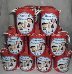 Latas decoradas - Show da Luna www.facebook.com/aproveitandolata