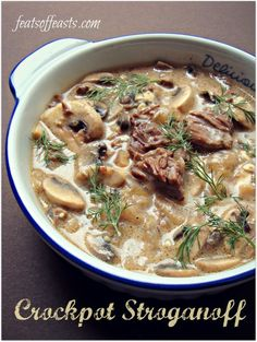 Crockpot Beef Stroganoff (I'll be substitutung the cream cheese for sour cream & also adding all the ingredients at once. Hence the whole purpose of a slow cooker)