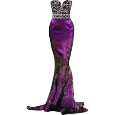 tony yaacoub - edited by mlleemilee found on Polyvore featuring dresses, gowns, long dresses, purple, purple evening gown, purple evening dresses, long purple dress and purple ball gown