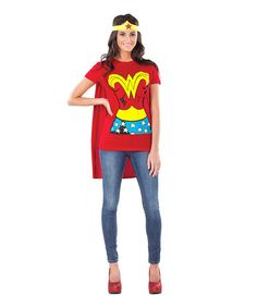 Up, up and away to super-fun times with this high-quality dress-up set! With comfortable fabrics and an authentic design, this simple getup will make costume parties or Halloween hullabaloos so much better.Includes tee, headband and cape100% polyester exclusive of trimMachine wash; hang dry