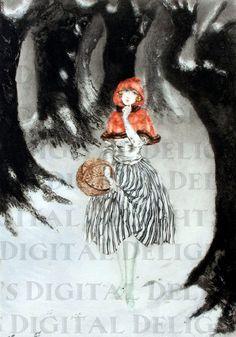 Unusual  Art Deco Little Red Riding HOOD. Fairy Tale Vintage Illustration. Fairy Tale Digital Downlo