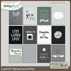 Essential Stuff : Monochrome [Journal Card Pack] :: Gotta Pixel Digital Scrapbook Store by Pixelily Designs $2.00