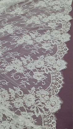 Beaded ivory chantilly lace fabric French Lace by LaceToLove