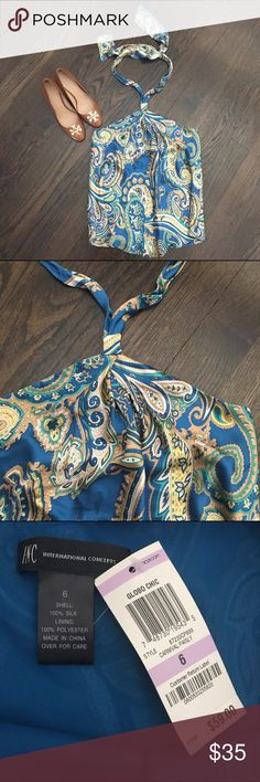 INC Silk Blue Paisley Halter Top INC paisley blue halter top. 100% silk. Fully lined. Size 6. Brand new! INC International Concepts Tops