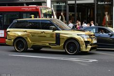 A heavily-modified gold Range Rover - estimated to be worth more than £150,000.