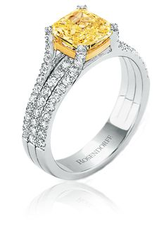 Rosendorff Jewellers ~ Fancy Yellow and white Diamond Engagement Ring