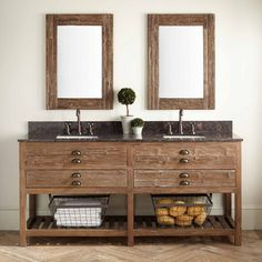 """72"""" Benoist Reclaimed Wood Double Vanity for Rectangular Undermount Sink - Wax Pine"""