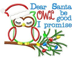 SAMPLE SALE Christmas Owl Embroidered by SewStitchingPerfect