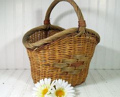 Aged Woven Curved TriColor Basket  Vintage Heavy by DivineOrders, $23.00