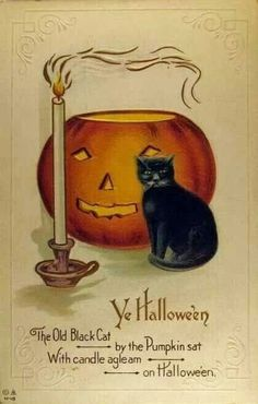 The old black cat by the pumpkin sat... #vintage #Halloween #cards #postcards