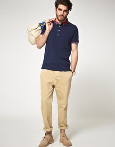 rolled up pants, those shoes low top, and solid color collar shirt asos.com
