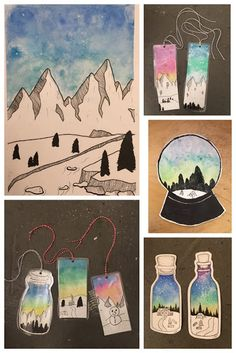 Art Room Britt: Jen Aranyi Mountain-scape Mixed-Media Illustrations