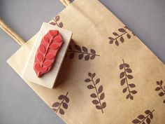 Floral Leaf Rubber Stamp for Patterns, Gift Wrap, Cards, Scrapbooking, Etsy