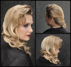 Penteado lateral, hairdress, bride. Feito por Luana do Vale