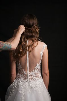 Branch and Flower Embroidered Illusion Back Wedding Dress | Robin McKerrell Photography | See More! http://heyweddinglady.com/the-couture-bride-dramatic-wedding-day-style-from-robin-mckerrell-photography/