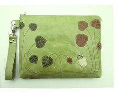 Mujeres bolso del ordenador portátil bolsa tech caso del nouveau del arte, floral rellenados ipad cartera verde cuero embrague sobredimensionado pulsera moda madres primavera