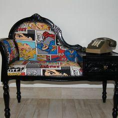 Meuble telephone/ meuble d'appoint/ relooke/ siège tissus/ rangement vintage