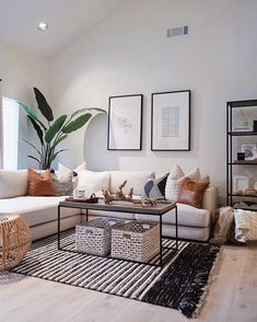 59 Best Solution Small Apartment Living Room Decor Ideas, modern living room decor with modern coffee table decor and modern sectional sofa with bookshelves and modern art in black and white living room design Home Living Room, Interior Design Living Room, Modern Living Room Decor, Modern Apartment Decor, Small Apartment Decorating, Scandinavian Interior Living Room, Flat Interior Design, Nordic Living Room, Fresh Living Room