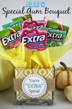 35 Teacher Thank You and Student Appreciation Gifts - Extra Special Gum Bouquet Volunteer Appreciation, Teacher Appreciation Gifts, Teacher Gifts, Teacher Thank You, Thank You Gifts, Teacher Prayer, Extra Gum, Just In Case, Just For You
