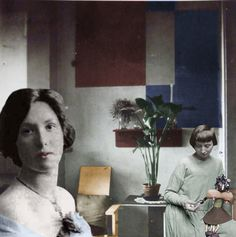 Til Brugman y Hannah Höch en la habitación de la música de la casa de Til  en La Haya 1926.