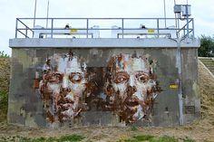 Street Art Mural By Spanish Street Artist Borondo In Cotignola, Italy.
